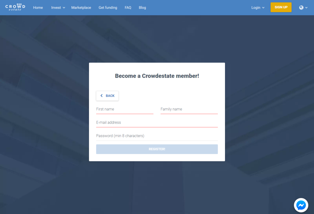 Crowdestate Sign Up 2