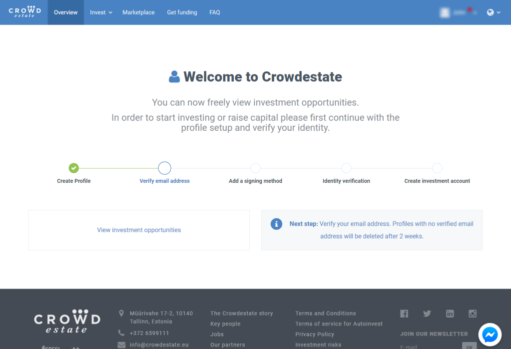 Crowdestate Sign Up