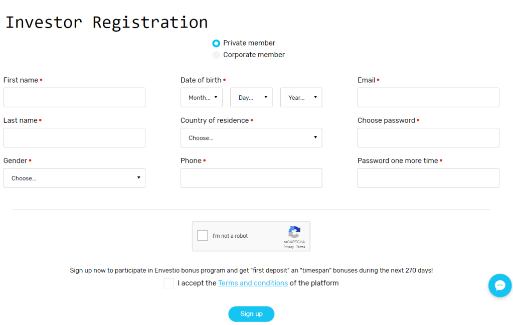 Envestio Sign Up 2