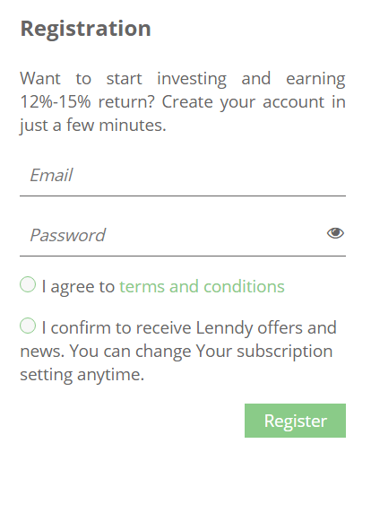 Lenndy Sign Up 2