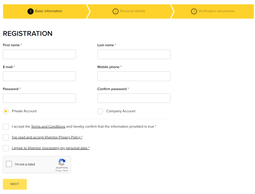 Viventor Sign Up Process 2st Step