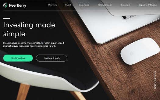 Peerberry review homepage